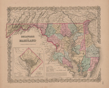 Delaware and Maryland Vintage Map Colton 1855