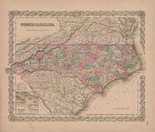 North Carolina Vintage Map Colton 1855