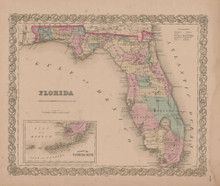 Florida Vintage Map GW Colton 1855