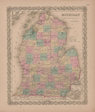 Michigan Vintage Map GW Colton 1855