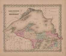 Lake Superior and Northern Michigan Vintage Map GW Colton 1855