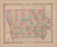 Iowa Vintage Map GW Colton 1855