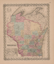 Wisconsin Vintage Map Colton 1855