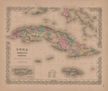 Cuba Jamaica and Puerto Rico Vintage Map GW Colton 1855
