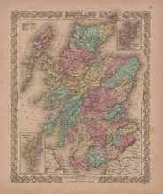 Scotland Vintage Map GW Colton 1856