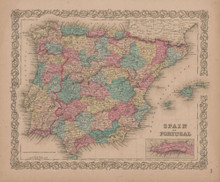 Spain and Portugal Vintage Map GW Colton 1856