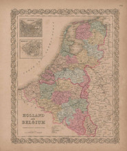Holland and Belgium Vintage Map GW Colton 1856