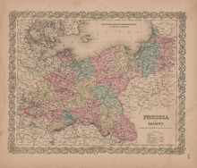 Prussia and Saxony Vintage Map GW Colton 1856