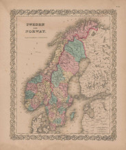 Sweden and Norway Vintage Map GW Colton 1856