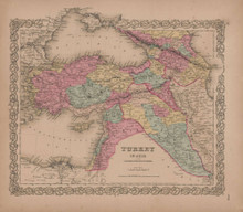 Turkey in Asia Vintage Map GW Colton 1856