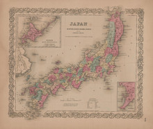 Japan or Nippon Vintage Map Colton 1856