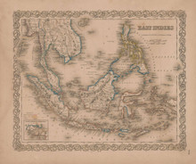 East Indies Vintage Map GW Colton 1856