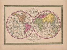 World Globular Projection Vintage Map Mitchell 1847