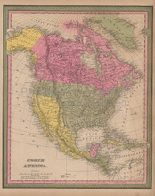 North America Vintage Map Mitchell 1847