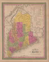 Maine Vintage Map Mitchell 1847