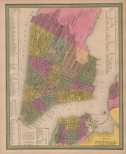 New York City Vintage Map Mitchell 1847