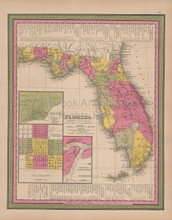 Florida Vintage Map Mitchell 1847