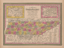 Tennessee Vintage Map Mitchell 1847