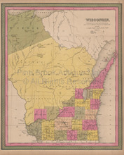 Wisconsin Vintage Map Mitchell 1847