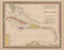 Caribbean Islands Vintage Map Mitchell 1847