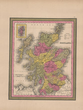 Scotland Vintage Map Mitchell 1847
