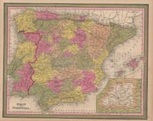 Spain Portugal Vintage Map Mitchell 1847