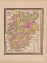 Russia in Europe Vintage Map Mitchell 1847