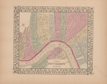 Plan of New Orleans Antique Map Mitchell 1868