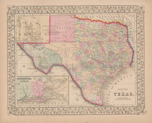 Texas Antique Map Mitchell 1868