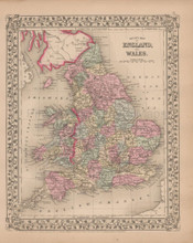 England Wales Antique Map Mitchell 1868