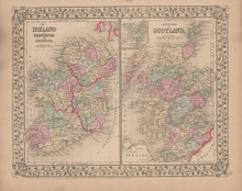 Ireland Scotland Antique Map Mitchell 1868