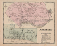 Amesbury Massachusetts Vintage Map Beers 1872