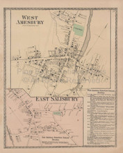West Amesbury Massachusetts Vintage Map Beers 1872