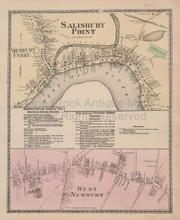 Salisbury Point Massachusetts Vintage Map Beers 1872