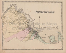 Town Newburyport Massachusetts Vintage Map Beers 1872
