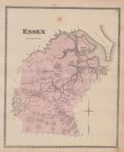 Town Essex Massachusetts Vintage Map Beers 1872