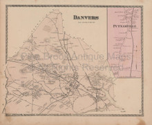 Town Danvers Massachusetts Vintage Map Beers 1872