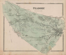 Town Peabody Massachusetts Vintage Map Beers 1872