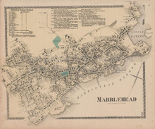 Marblehead Massachusetts Vintage Map Beers 1872