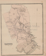 Saugus Massachusetts Vintage Map Beers 1872