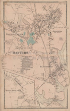 Danvers Massachusetts Vintage Map Beers 1872