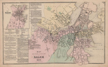 Salem Massachusetts Vintage Map Beers 1872