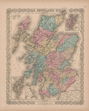 Scotland Vintage Map Colton 1856