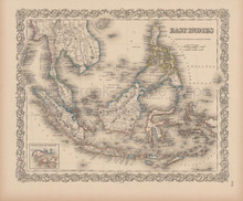 East Indies Vintage Map Colton 1856