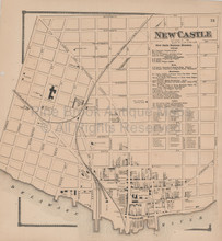 New Castle Business Delaware Antique Map Beers 1868