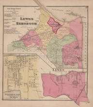 Lewes Rehoboth Delaware Antique Map Beers 1868