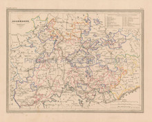 Central Germany Antique Map Malte Brun 1850
