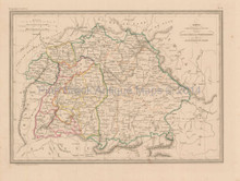 Southern Germany Antique Map Malte Brun 1850