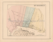 St. Stephen New Brunswick Antique Map Roe 1878
