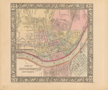 Cincinnati Antique Map Mitchell 1866